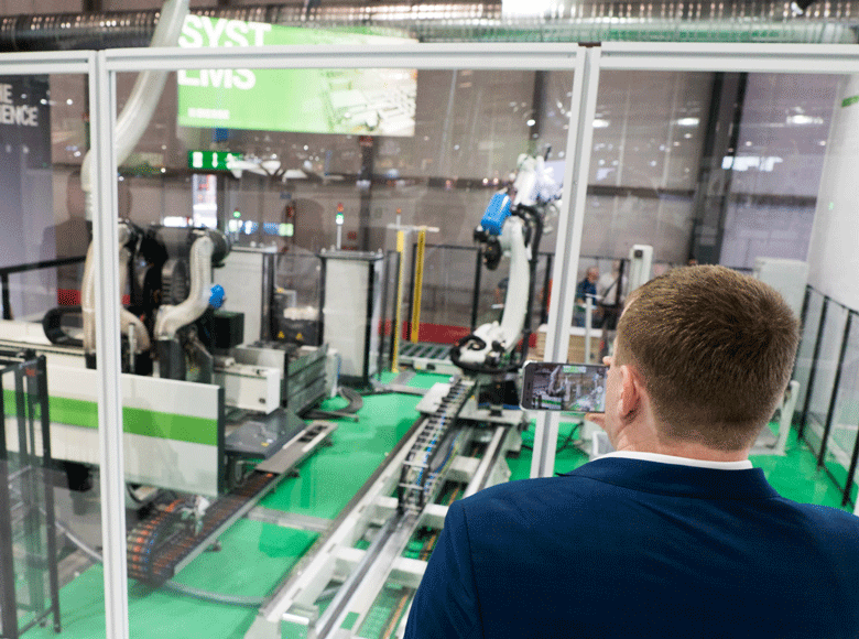 The Biesse digital  factory at LIGNA 2019:  a winning alliance between man and robot